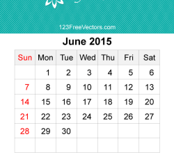 June 2015 Calendar Template Vector Free