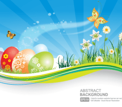 Vector Easter Background with Colorful Easter Eggs Graphics