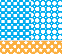 Square, Circle and Stars Seamless Pattern Vector