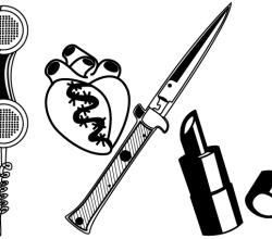 Knife, Telephone Receiver, Lipstick Vector