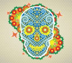 Flower Skull Vector Illustration