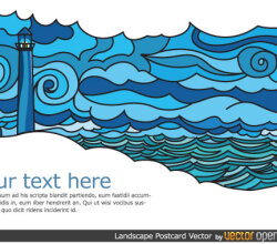 Landscape Postcard Design Vector
