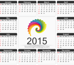 Printable 2015 Calendar Template Vector Free
