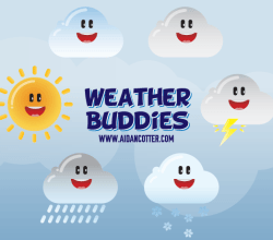 Cute Weather Icons Vector