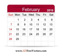 Free Vector 2016 Calendar February
