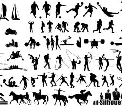 Free Sportsmen Silhouettes Vector Art