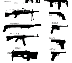 Gun Silhouettes Vector Graphics