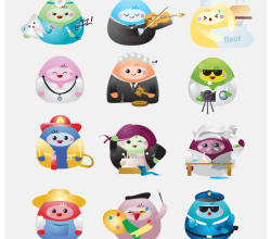 Free Kawaii Professions Icons Vector