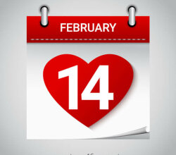 Valentine's Day February 14 Heart Calendar Icon
