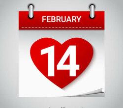 Valentine's Day February 14 Heart Calendar Icon