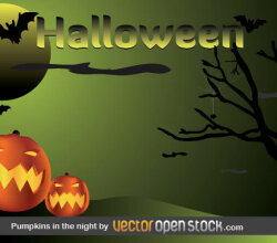 Halloween Postcard with Pumpkins, Bats, Moon and Dead Tree