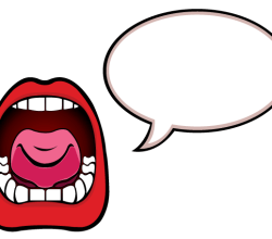 Open Mouth with Speech Bubble Vector Art