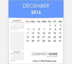 Editable Calendar December 2016