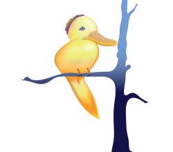 Vector Cute Yellow Bird Cartoon