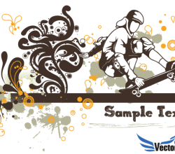 Floral Skater Vector Background Design