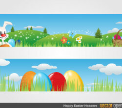 Easter Banners with Easter Bunny, Eggs Basket and Flowers