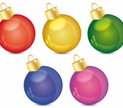 Shiny Christmas Ball Ornaments Vector