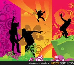 Happiness is Colorful Vector Illustration