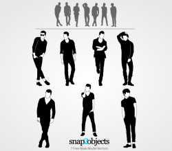 Male Model Silhouettes Free Illustrator Vectors Pack