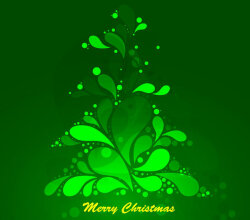 Abstract Green Christmas Tree Vector Graphic