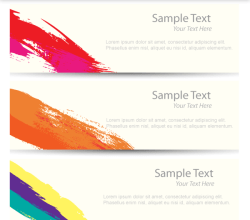 Vector Abstract Colorful Brush Strokes Banners