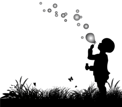 Small Boy Blowing Bubbles Vector Silhouette