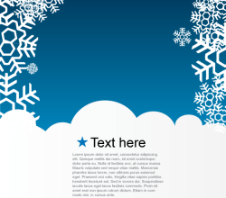 Christmas Greeting Card with Snowflakes on Blue Background