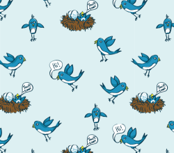 Twitter Birds Illustrator and Photoshop Pattern