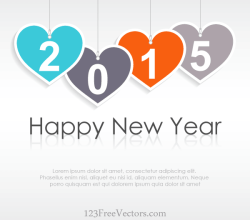 Vector Hanging Heart with Text 2015 on Abstract Background Greeting Card
