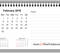 February 2016 Printable Calendar with Notes