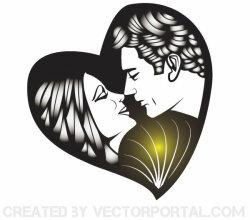 Vector Man and Woman Kissing Image