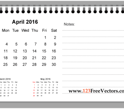 April 2016 Printable Calendar with Notes