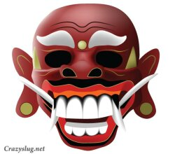 Traditional Balinese Mask Vector Image