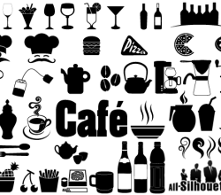 Cafe, Restaurant Icons & Symbols Vector