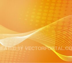 Abstract Orange Color Background with Wavy Flowing