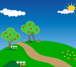 Apple Trees Wallpaper Vector Image