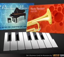 Vector Illustration Musicians Business Cards Designs Set-3