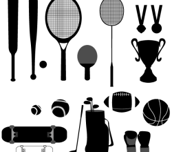 Sport Stuffs – Baseball, Basketball, Cup, Golf, Medal, Racket, Skateboard