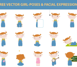 Girl Poses and Facial Expressions Vector