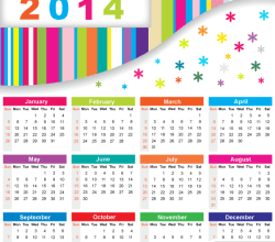 Colorful Calendar 2014 Vector Free