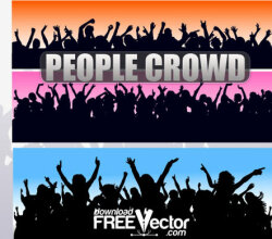 People Crowd Silhouettes Vectors Free
