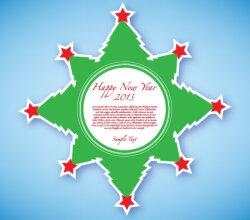 Happy New Year 2013 Green Sticker Free Vector