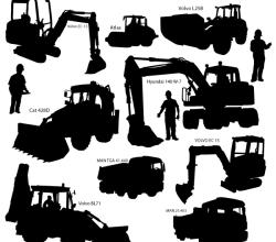 Heavy Duty Construction Equipment Silhouettes Vector Art