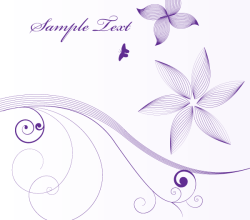 Vector Floral Background with Line Art Flowers