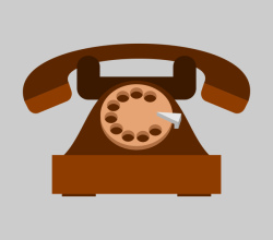 Old Telephone Flat Icon Vector Graphics