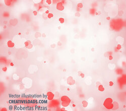 Abstract Valentine's Bokeh Background with Blur Pink Hearts Love Illustration