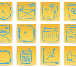 Free Hand Drawn Office & Business Icons Vector