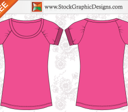 Women's Basic Free T-shirt Templates Vector