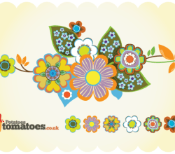 Free Retro Flowers  Vector Graphics
