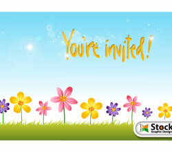 Flower Invitation Background Design Vector